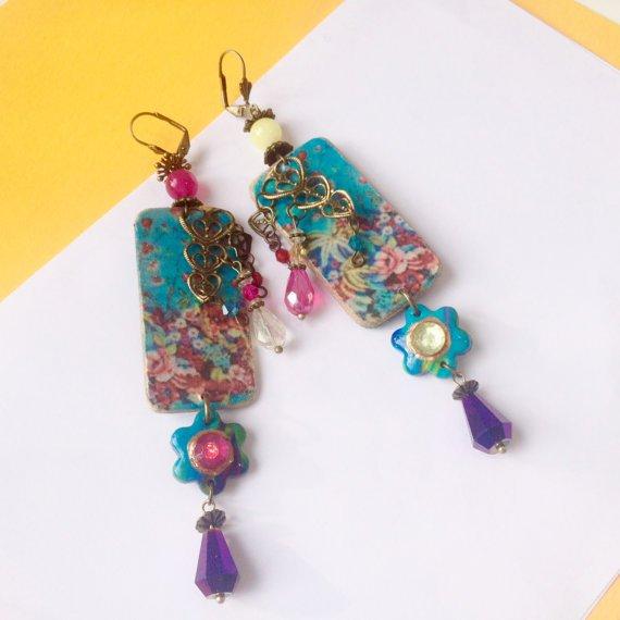 Boucles d'oreilles Gypsie boho bohême chic - Ethniques - motifs tzigane vintage peinture PIÈCE UNIQUE