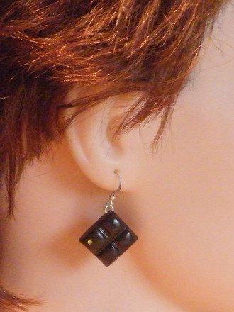 Boucle d'oreille tablette chocolat en fimo Argent 925 : Boucles d'oreille par jl-bijoux-creation