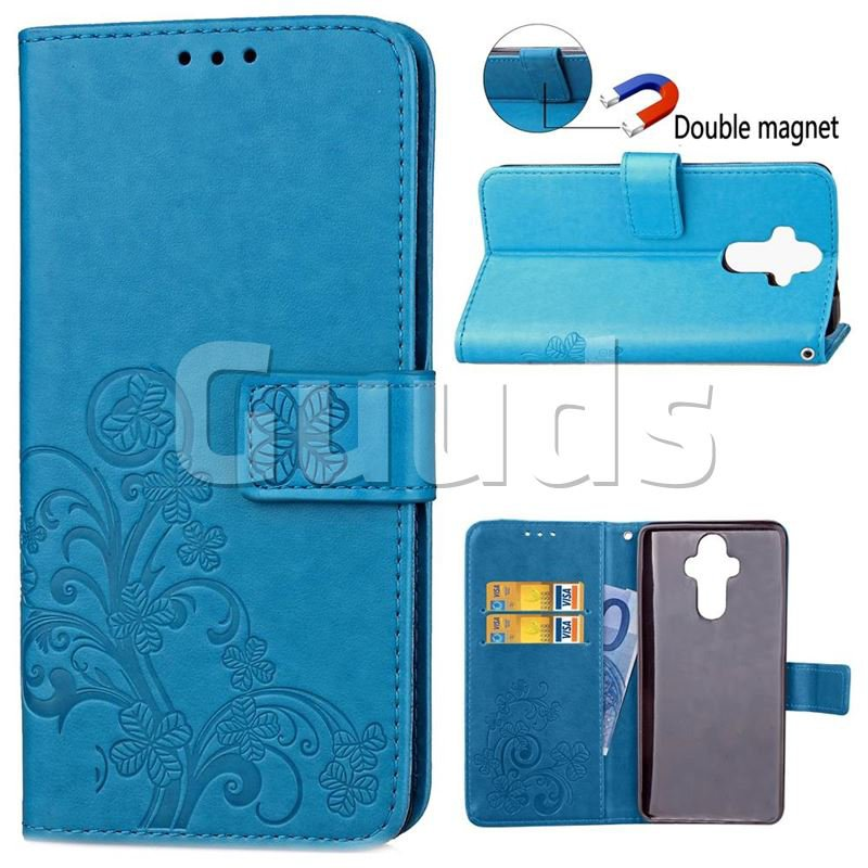 Embossing Imprint Four-Leaf Clover Leather Wallet Case for Huawei Mate9 Mate 9 - Blue - Leather Case - Guuds