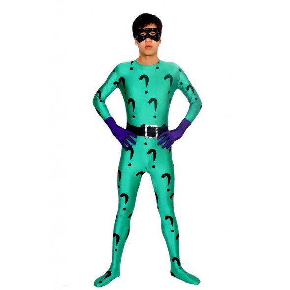 The Riddler Cosplay Zentai Suit/Buy Full Body The Riddler Spandex Lycra Cosplay Zentai Suit