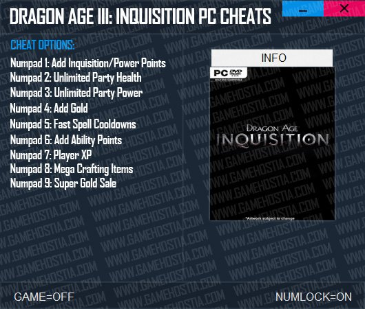 Dragon Age Inquisition PC Cheats - Game Trainer MAX Gold