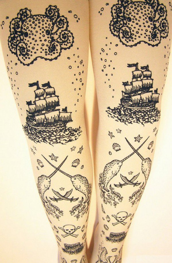 Wear Narwhals, Swords And Treasure Chests With These Pirate Tights
