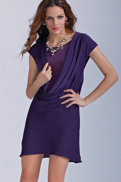 Elegant Short Sleeved Round Neckline Dress - OASAP.com