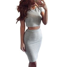 Women's Club Skirt Summer Short Sleeve Top Two Piece Outfits Midi Skirts Sexy Party Bodycon Vestidos - RealShoppi.com