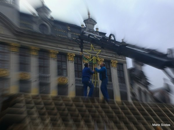 Préparation du sapin de Noël de la Grand Place de Bruxelles 2013-2014