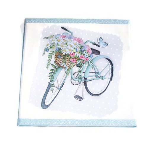 Tableau vélo fleurie bleu