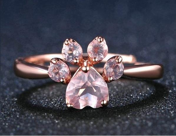 Natural Pink Rose Quartz Ring
