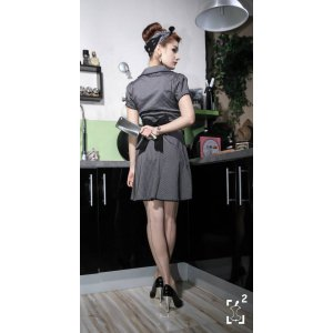 robe sourpuss grise rayée noire retro - Checkpoint Fanstore - Nîmes