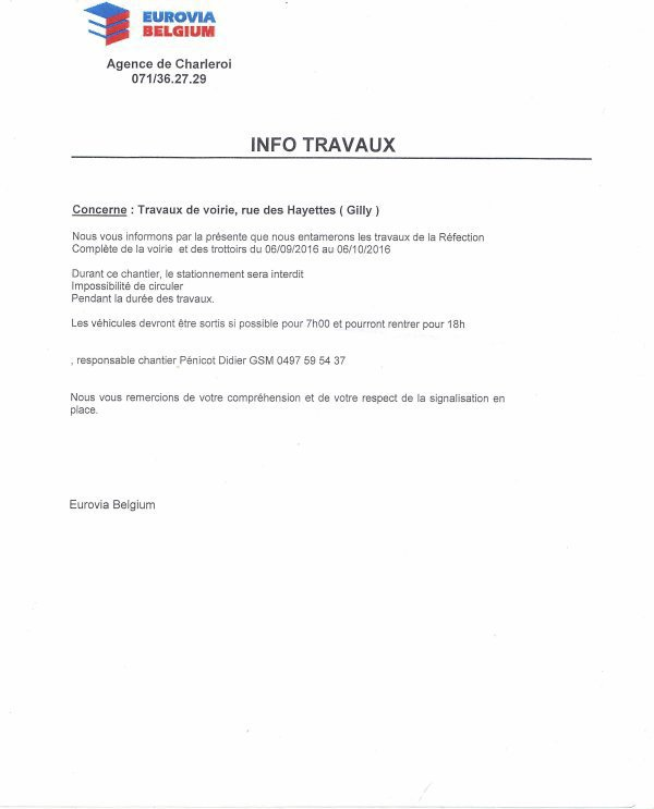 attention du 06 septembre au 06 octobre 2016 travaux rue des hayett...