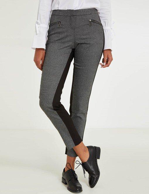 Pantalon en prince de Galles et maille Morgan - Pantalon Morgan - Ventes-pas-cher.com