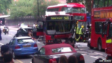 Three hurt in west London bus crash