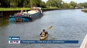 En 3 ans, un kayakiste relie la Tunisie à Bruxelles pour nous sensibiliser à la cause des migrants - Vidéo - RTL Vidéos