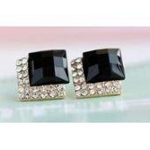 Boucles d'oreilles or, femme, carré noir et faux diamant sur PriceMinister