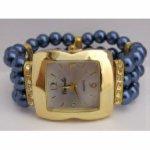 Bijoux fantaisie-montre perles bleues