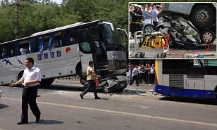 Police officer crushed to death as his car his run over by a bus in Beijing horror crash