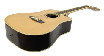 12-String ACOUSTIC GUITAR - NATURAL WOOD High Quality