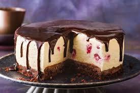 Triple choc upside-down cheesecake