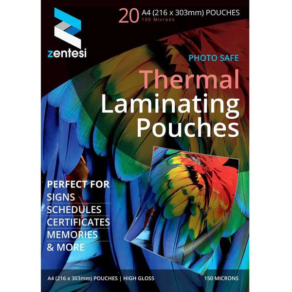 Zentesi A4 Gloss Laminating Pouches - 150 Micron Thickness