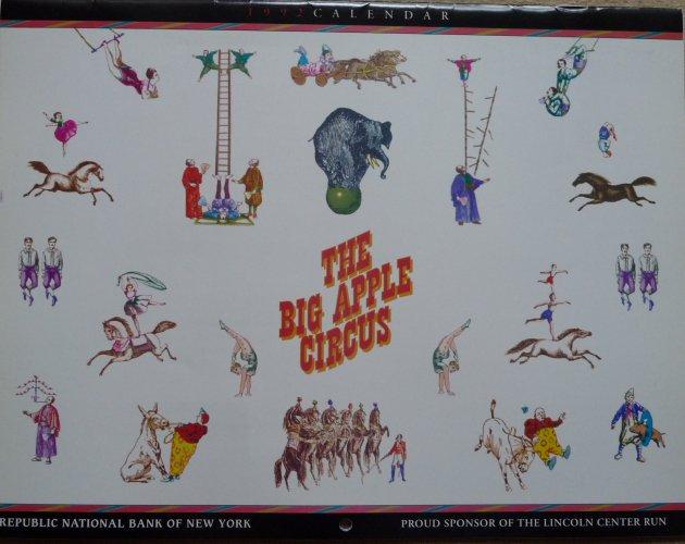 A vendre / On sale / Zu verkaufen / En venta / для продажи :  Calendrier Big Apple Circus 1992