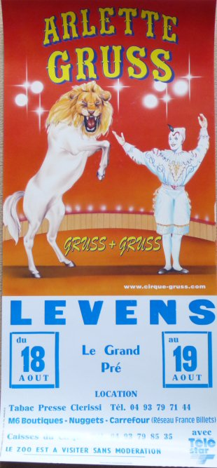 A vendre / On sale / Zu verkaufen / En venta / для продажи :  Affichette cirque ARLETTE GRUSS - Gruss + Gruss - Levens 1998
