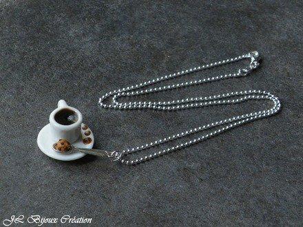 Sautoir petit déjeuner en fimo Argent 925 : Collier par jl-bijoux-creation