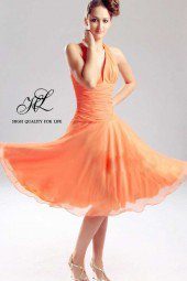 Prom Dresses 2012 UK- knee length One-shoulder Yellow Chiffon A-line lf-00045