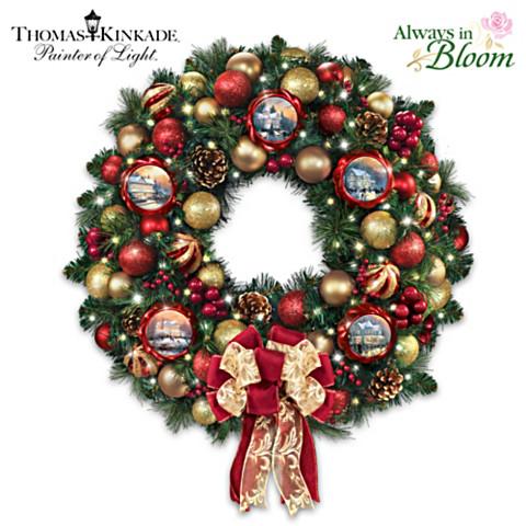 "Thomas Kinkade ""Season Of Splendor"" Lighted Christmas Wreath"