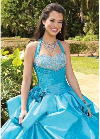 2011 Style Ball Gown Sweetheart Beading Sleeveless Floor-length Taffeta Blue Prom Dress / Evening Dress
