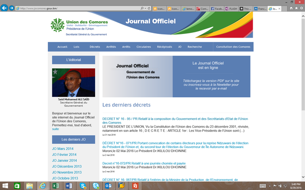 Le site du journal Officiel n'est plus mis à jour !