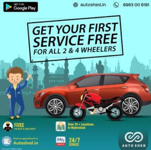 Book your 1st Free Car and Bike Online Repair services in Hyderabad- Autoshed