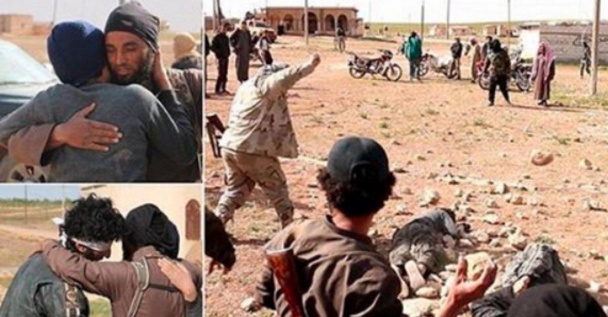 """Terreur islamiste : """"Pardonnés pour leur péché"""", deux homosexuels ont ensuite été exécutés par lapidation par des membres de l'État islamique (ISIS)."""