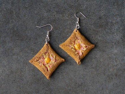 Boucle d'oreille galette bretonne en fimo Argent 925 : Boucles d'oreille par jl-bijoux-creation