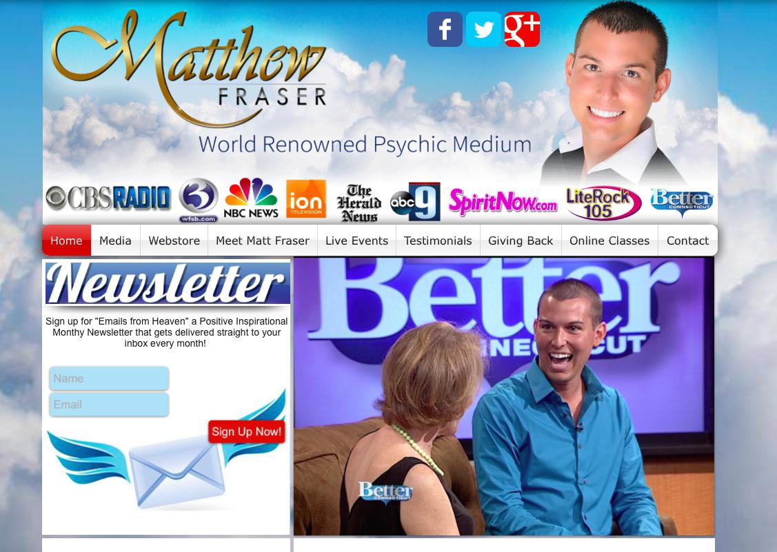 Meet the psychic Matt Fraser. Call him today.