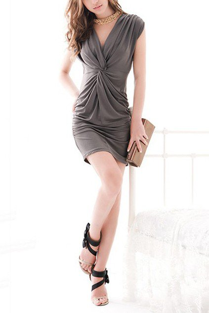 V-neckline Knot Front Double Wearing Design Grey Dress - OASAP.com