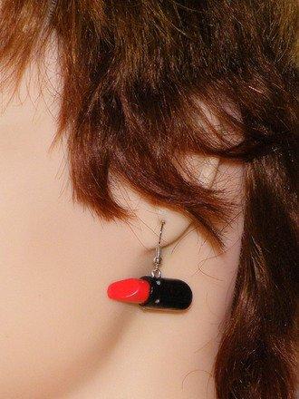 Boucle d'oreille Rouge à lèvre #3 en fimo Argent 925