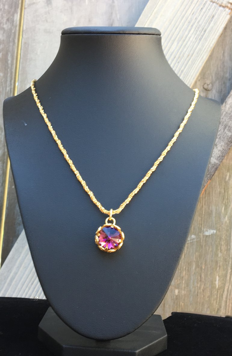 24 K gold FILIGREE CRYSTAL NECKLACE - Banou Couture