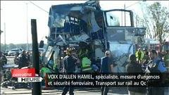 Une collision entre un train de Via Rail et un autobus à deux étages d'OC Transpo a fait six morts, dont le chauffeur de l'autobus,et une trentaine de blessés, dont une dizaine dans un ét...