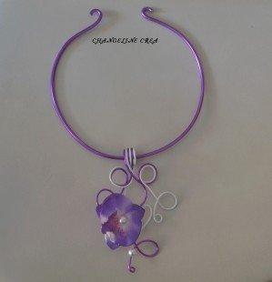 Collier orchidée violet et blanc : Collier par changeline-crea sur ALittleMarket