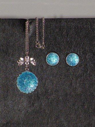 Parure 2 pièces Cabochons paillettes bleues