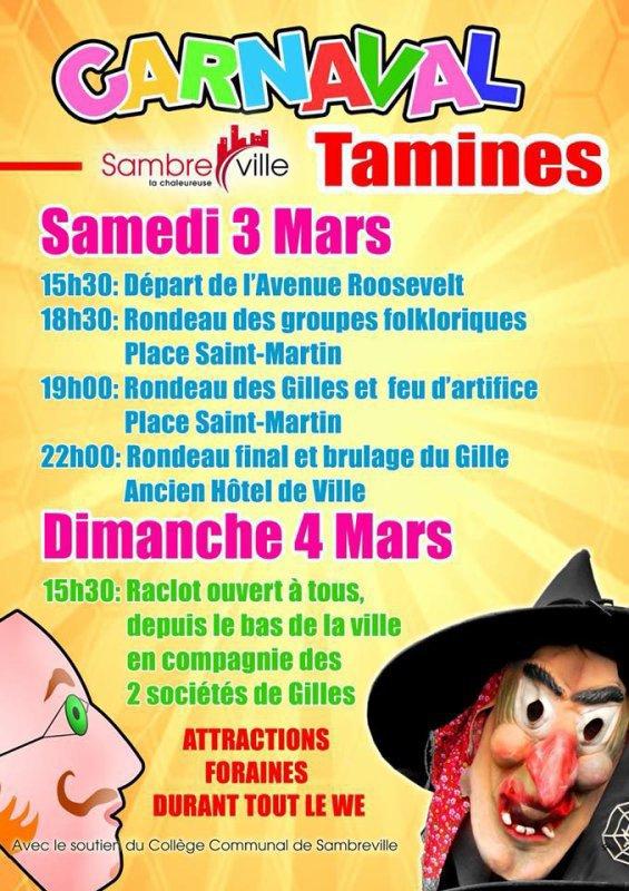 je serait absent du 03 au 05 mars carnaval de Tamines