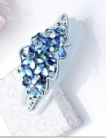 Bleu Cristal Swarovski zircon fashion petite amie cadeaux femme barrette 10.8cm*5cm 30.3g