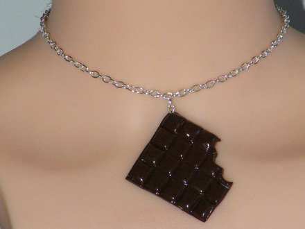 Collier Tablette de chocolat en fimo