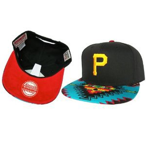 Casquette Pittsburgh Pirates Customisee avec un Tissu Imprime Azteque et dessous en Velour Rouge - Snapback Officielle MLB - EDITION LIMITEE: Amazon.fr: Bienvenue