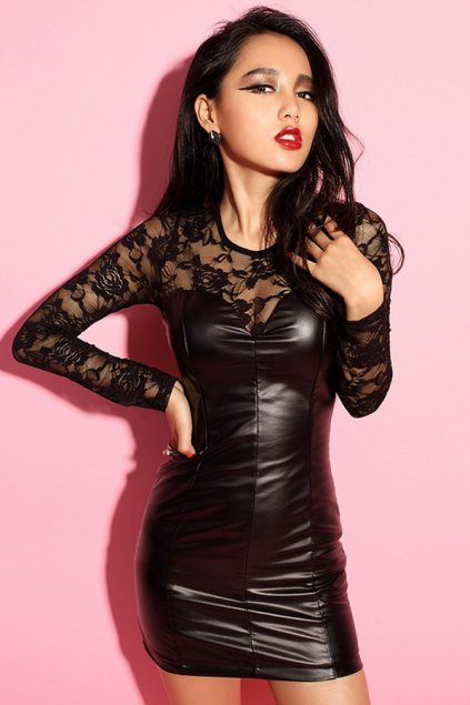 Lace Top Bodycon Faux Leather Dress - OASAP.com
