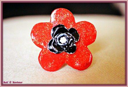 Bague fleur rouge et rose noire argenté
