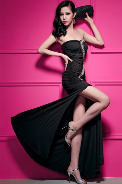 Rhinestone Embellishment Strapless Dress - OASAP.com