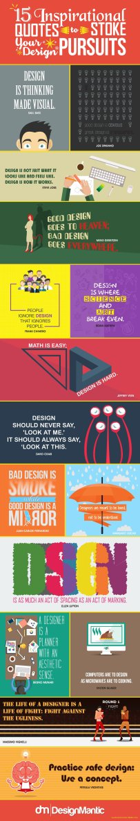 just free learn : 15 Inspirational Quotes To Stoke Your Design Pursuits infographic