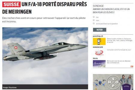 Suisse: un avion de combat porté disparu