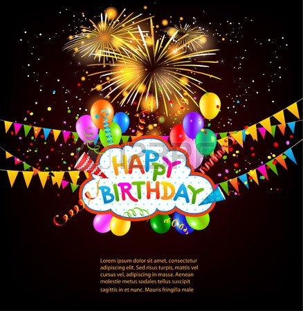 Joyeux anniversaire vacances fond avec des ballons, drapeaux, feux d'artifice. Place pour le texte. Vector illustration jour férié.