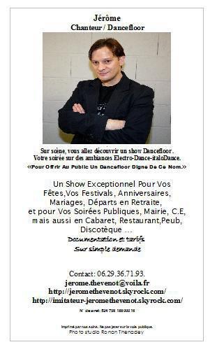 Jérôme Thévenot - Chanteur de musics Dancefloors. House -Electro - italoDance